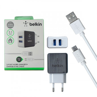СЗУ Belkin BL2202 5V/3,1A 2USB + cable ip7 iPhone 1,2m (White) в упаковке