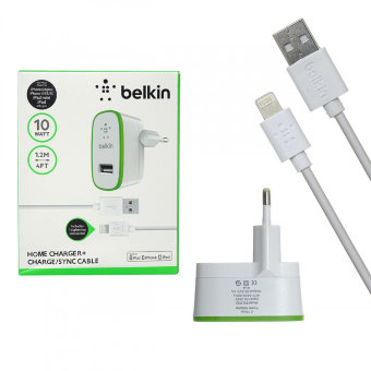 СЗУ Belkin F8J053 10W 5V/2,1A 2USB + cable ip7 iPhone 1,2m (White) в упаковке