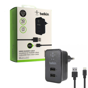 СЗУ Belkin S950 10W 5V/2,1A 2USB + cable ip7 iPhone 1,2m (Black) в упаковке