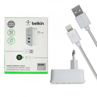 СЗУ Belkin S950 10W 5V/2,1A 2USB + cable ip7 iPhone 1,2m (White) в упаковке